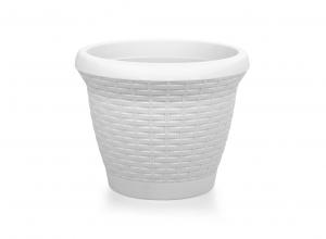 Fidan Burada - Hasır Desenli Plastik Saksı-Beyaz Renk 6 Lt.