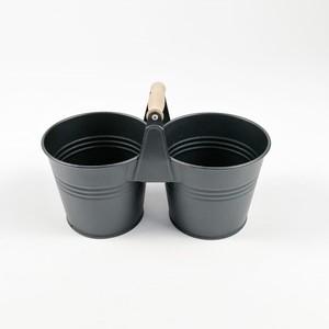 İkiz Metal Saksı-Ahşap Saplı 15cm - Thumbnail