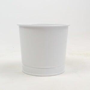 Fidan Burada - Leo Beyaz Metal Saksı 12 cm