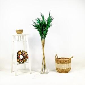 Fidan Burada - Pampas Cam Vazolu - Yeşil - 10'lu Kuru Çiçek - 120cm