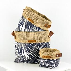 Fidan Burada - Plant Basket - Black Palm Desenli