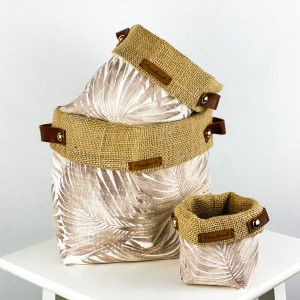 Fidan Burada - Plant Basket - Brown Palm Desenli