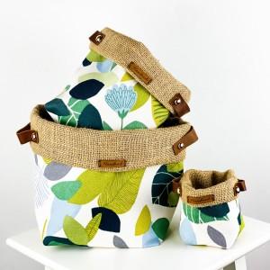 Fidan Burada - Plant Basket - Yaprak Desenli