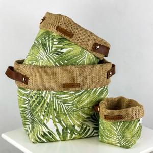 Fidan Burada - Plant Basket - Green Palm Desenli
