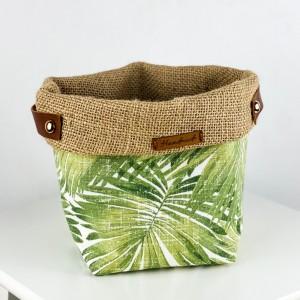 Plant Basket - Green Palm Desenli - Thumbnail