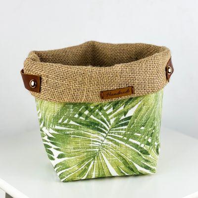 Plant Basket - Green Palm Desenli