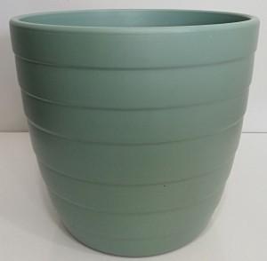 Fidan Burada - Seramik Saksı-İthal-Su Yeşili Çizgili 26 Cm