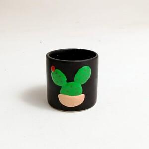 Siyah Saksı Seti - Kabartmalı Kaktüs Detaylı Seramik Saksı - Thumbnail